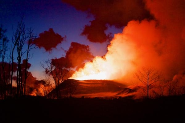 Kilauea Down-Rift Eruption at Sunset.  U.S. Geological Survey
