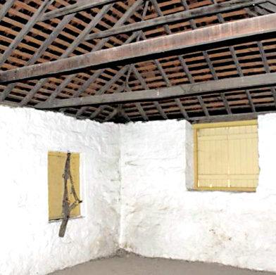 Interior view of Old Colonial style roof construction