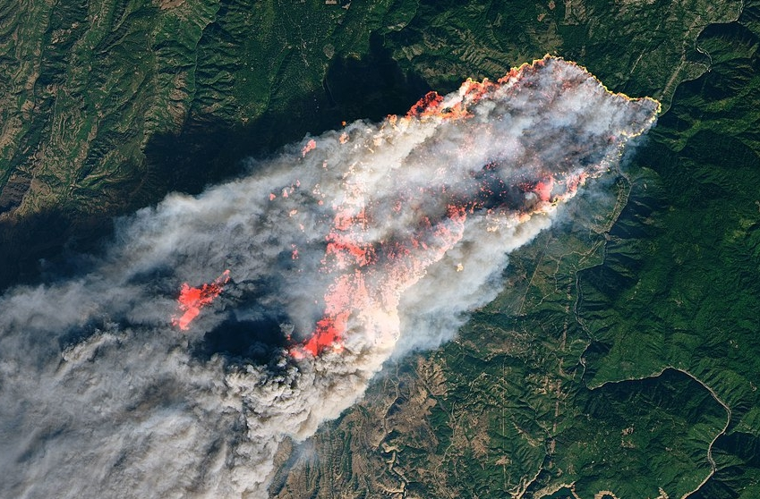 Camp Fire, Nov. 8, 2018 Landsat 8 photo (Creative Commons)