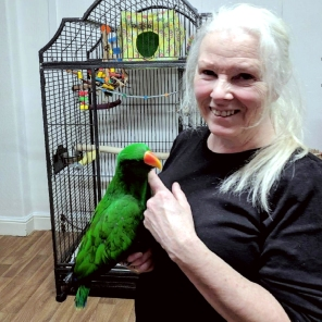 Joan Rakrhra saying adieu to newly homed young eclectus, who fortunately will only be 3 miles away (Courtesy of Joan Rakrhra)